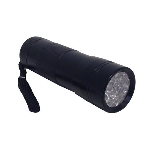 Alvorlig UV / Rav 9 LED Lommelygte i metal OP02